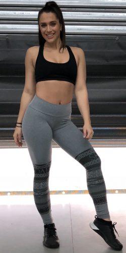 Grey gym tights.