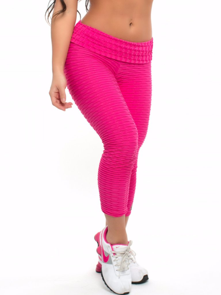 6d2c0a7300f50 BrazilActiv Neon Pink Leggings, Brazilian textured fitness wear leggings