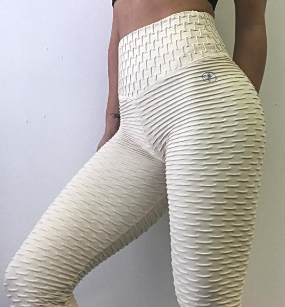 Textured Fitness Leggings: Zero Flaws-Textured Leggings-Cream