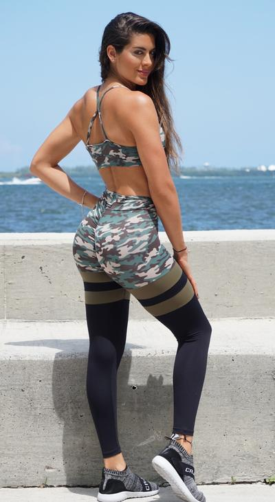 Camouflage scrunch bum leggings