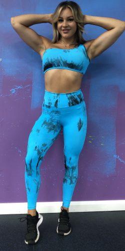 Gym Leggings -Tie-Dye Blue