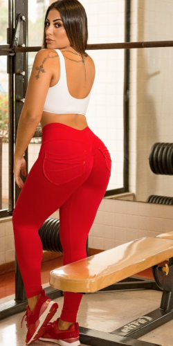 Red Tie-Front Leggings